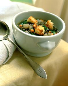 Lentil and Escarole Soup - Martha Stewart Recipes (Add sausage next time)