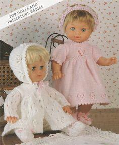 Baby Knitting Patterns Coat Dolls Clothes PDF Knitting Pattern : 12 – 22 inch Dolly and Premature Baby . Knitted Dolls Dress Pattern, Doll Dress Patterns, Clothing Patterns, Baby Girl Dolls, Baby Doll Clothes, Babies Clothes, Baby Knitting Patterns, Baby Patterns, Skirt Pattern Free