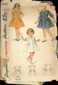 Simplicity 3295 Vintage Sewing Pattern Toddler Party Dress, Full Skirt Dress, One Piece Dress Size 2 Sewing Patterns Girls, Baby Clothes Patterns, Clothing Patterns, Girls Party Dress, Toddler Girl Dresses, Little Girl Dresses, Toddler Girls, Motif Vintage, Vintage Patterns