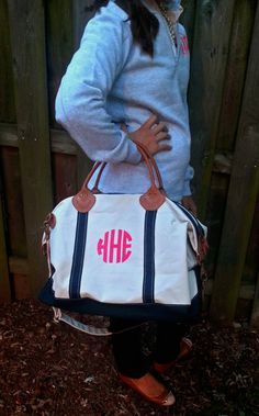 Monogram Canvas Satchel/Duffel by SEmbroideredBoutique on Etsy