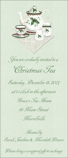 For a Christmas Tea, or any tea!! I have always wanted to do a ladies tea at my house. Petite fours and all!!