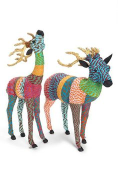 Put some color into your holiday décor with stylish Chindi Reindeers (small and large) handmade from recycled saris! | Nordstrom