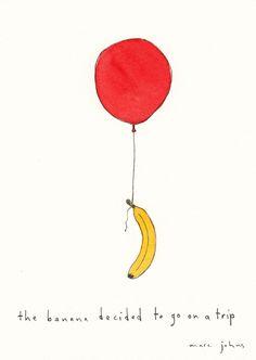 Marc Johns - the banana decided to go on a trip - Original Drawing Marc Johns, Illustrations, Illustration Art, Inspiration Artistique, Going On A Trip, Arte Horror, Wow Art, Artsy Fartsy, Art Inspo