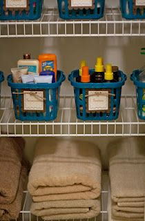 Great idea for organizing your linen closet
