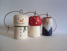 Snowman Cork Ornament Primitive Christmas by ElizabethanFolkArt