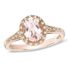 Oval Morganite and Diamond Ring in 10K Rose Gold
