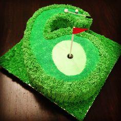 Mini-Golf ParTee Birthday Cake for my 6 year old.  The Wilton no. 233 tip has had a good workout. #golfcake #6yearold #birthdaycake