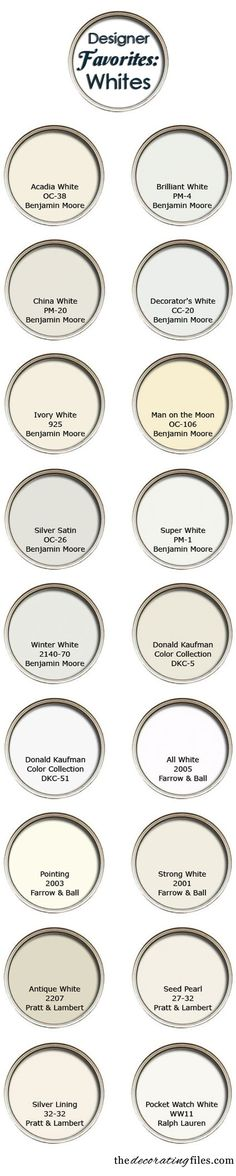 The Decorating Files pulled together the top white paint colors from a handful of designers.. Great resource to pin & look back on when you're ready to paint.