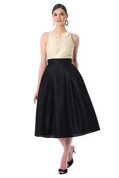 b9377a224ae I  lt 3 this Peter pan collar colorblock dupioni dress from eShakti 1950s  Fashion Dresses