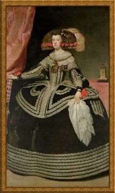Portrait of Queen Mary-Anne of Austria by Diego Velazquez Wall Art, Canvas Prints, Framed Prints, Wall Peels Renaissance, Austria, Diego Velazquez, Spanish Royalty, Baroque Art, Spanish Painters, Classic Paintings, Queen Mary, Historical Costume