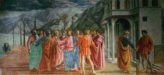 Il pagamento del tributo, affresco di Masaccio, 1425 circa, chiesa di Santa Maria del Carmine a Firenze