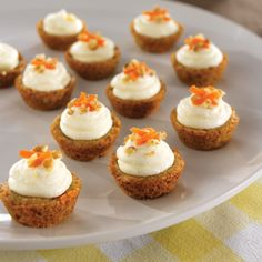 Cupcakes - Mini Carrot Cake Cups - Pile on the frosting! Our homemade, cream cheese icing makes these Mini Carrot Cake Cups irresistible! Köstliche Desserts, Delicious Desserts, Finger Desserts, Bite Size Desserts, Mini Cakes, Cupcake Cakes, Mini Cupcake Pan, Cup Cakes, Mini Carrot Cake