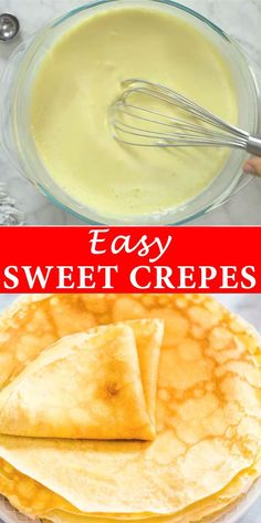 crepe recipe Simple and foolproof recipe for Sweet Crepes. Ive made these hundreds of times and they are familys favorite. I am sure youll love them too! Cooktoria for more deliciousness! Breakfast Dishes, Best Breakfast, Breakfast Pancakes, Recipes For Breakfast, Breakfast Ideas, Pancake Muffins, Crepe Recipes, Dessert Recipes, Dinner Recipes