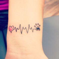 Heart heartbeat dog paw tattoo on wrist (Dog dogs puppy love ideas ink tattoos)