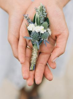 Lake Michigan styled shoot by Thomas of Slack Photography. Flowers by Kate Powell. See more..@intimateweddings.com #boutonniere