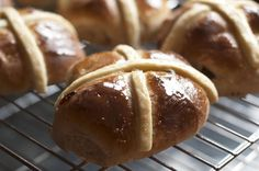Delicious, sticky Hot Cross Buns, an essential Easter treat and so easy to make. All you need is a little time, spices, fruits, flour and yeast.