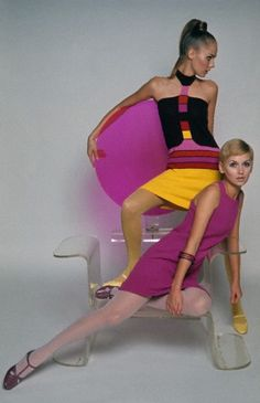 Two models, on a clear and magenta Plexiglas throne by Quasar, 'Mademoiselle' magazine, April 1967. Courtesy of Condé-Nast archives.