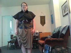 notice the capelet.  I made it with an old wool coat and finished the edges with satin ribbon