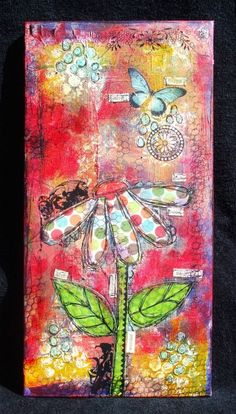 Mixed media canvas. Loving the colours