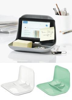 Tablet Stand & Clutter Tidy - Mint - Koziol - Gifts for Him Tablet Stand, Desktop Organization, Organisers, Clutter, Gifts For Him, Mint, Storage, Stuff To Buy, Organization