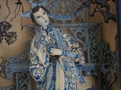 """""""Chinoiserie""""  Painted wood. Approx. 7 in. high."""