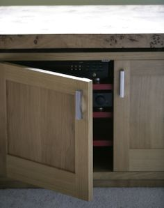 Oak sideboard with stainless steel handles and painted shelves