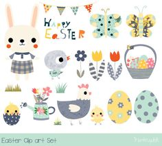 Happy easter clipart cute easter clip art set easter bunny clip art easter rabbit clipart easte easter floral butterfly wreath design illustration print greetings card victoriajohnsondesign com Happy Easter Clip Art, Ostern Wallpaper, Rabbit Clipart, Easter Illustration, Book Illustration, Kawaii Bunny, Baby Art, Egg Hunt, Doodle Art