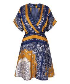 Look at this #zulilyfind! Blue & Gold Abstract Floral V-Neck Dress #zulilyfinds