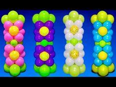 Dollar Store Balloon Flower Columns! - YouTube Balloon Tower, Balloon Columns, Balloon Arch, Moana Birthday Party, Birthday Party Themes, Birthday Ideas, Diy Backdrop, Backdrops, Flower Tower