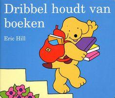 """""""Dribbel houdt van boeken"""" Eric Hill - Dribbel gaat met zijn moeder naar de bibliotheek, prentenboek"""