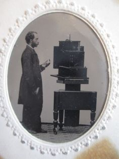 Ca-1860-Tintype-of-Photographer-w-Very-Rare-Simon-Wing-Daguerreotype-Camera