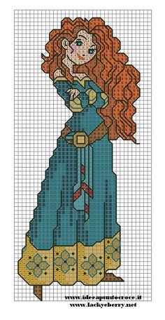 Merida punto croce by find this pin and more on craft ideas - cross stitch - disney Disney Cross Stitch Patterns, Cross Stitch For Kids, Cross Stitch Charts, Cross Stitch Designs, Disney Stitch, Cross Stitching, Cross Stitch Embroidery, Modele Pixel Art, Stitch Character