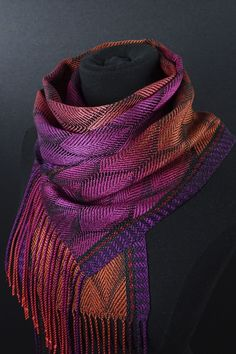 The luminous hand-dyed, hand-woven scarves and shawls from Mindy McCain and Carrie May. Tapestry Weaving, Loom Weaving, Hand Weaving, Weaving Designs, Weaving Patterns, Painted Warp, Woven Scarves, Textile Art, Textiles