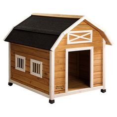 Perfect tucked in your living room nook or nesting in the backyard, this fir wood dog house features a barn silhouette and raised floor.   ...