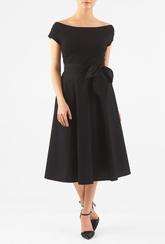 I <3 this Mixed media sash tie midi dress from eShakti