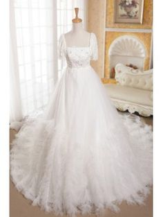 Organza Strapless Cathedral Train A-line Wedding Dress with Beading