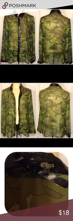 Ali & Kris Camouflage Sheer Long Sleeve Blouse Women's size M green camouflage sheer long sleeve Ali & Kris blouse.  The neck, cuff trim and button trim are black polyurethane material.  This is a beautiful blouse and very stylish.     Measurements    Arm Pit = 19   Shoulders = 15.25   Sleeve = 23.75   Length = 27 Ali & Kris Tops Blouses