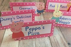 Peppa Pig Food Labels Table Tent Cards by OnceUponACrafterxo Third Birthday, 4th Birthday Parties, Birthday Party Decorations, Birthday Ideas, Birthday Celebration, Peppa Pig Birthday Invitations, Pig Birthday Cakes, Party Food Labels, Tent Cards