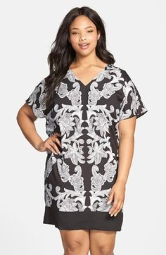 Plus Size Women's Adrianna Papell Motif Print Front Shift Dress