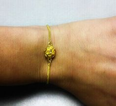 Delicate Golden Rose Bracelet by OneSEC on Etsy, $6.50