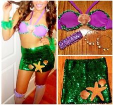 Sexy adult little mermaid costume outfit sequin size xs green purple concords