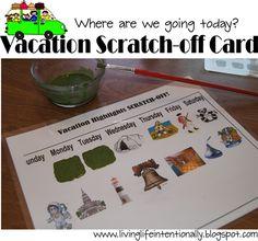 Roadtrip fun: scratch off itinerary cards, fun folder, etc.