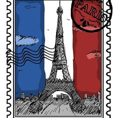 'Paris Stamp' by Framed Prints, Canvas Prints, Art Prints, Cool Stickers, Art Boards, Cool T Shirts, Classic T Shirts, Laptop