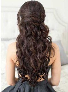 dunkel, braun, Prom, lange, Hochzeit, Locken, Wasserfall