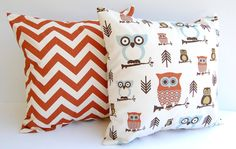"""Throw pillow covers set of two 18"""" x 18"""" Rust and Natural  chevron and coordinating Owls. $30.00, via Etsy."""