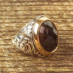 Magnificent Sultan Süleiman  Oval Shape Onix Stone Man Ring Sterling Silver 925 #Handmade