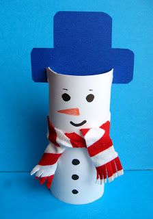 Snowman decoration or as gift wrap for small items--think I would use a stocking cap for the top. Winter Kids, Christmas Crafts For Kids, Winter Christmas, Holiday Crafts, Cardboard Tube Crafts, Paper Roll Crafts, Snowman Decorations, Snowman Crafts, Preschool Christmas