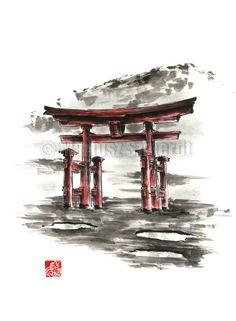 Japanese Torii Gate Torii Painting Watercolor Gift por SamuraiArt