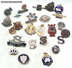 Group of Salvation Army and Australian Natives Association badges including band badges and enamel badges for Footscray and Box Hill etc