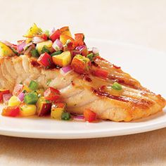 Grilled Salmon with Nectarine Salsa Recipe Salmon Recipes, Fish Recipes, Seafood Recipes, Great Recipes, Cooking Recipes, Favorite Recipes, Healthy Recipes, Weber Recipes, Fish Dishes